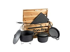 Bon-fire kookset in houten kist