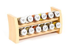 Gosia houten kruidenrek naturel met 12 kruiden potjes