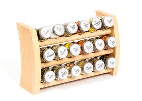 Gosia houten kruidenrek naturel met 18 kruiden potjes