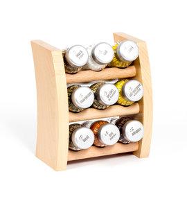 Gosia houten kruidenrek naturel met 9 kruiden potjes