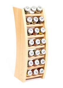 Gosia houten kruidenrek naturel met 21 kruiden potjes